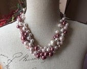 Pink and Rose colored pearl necklace - statement necklace - chunky pearl - bridesmaid jewelry