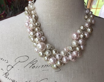Chunky pearl necklace, bridesmaid necklace, champagne/blush pink/ivory pearls, statement pearl necklace, cluster pearl necklace