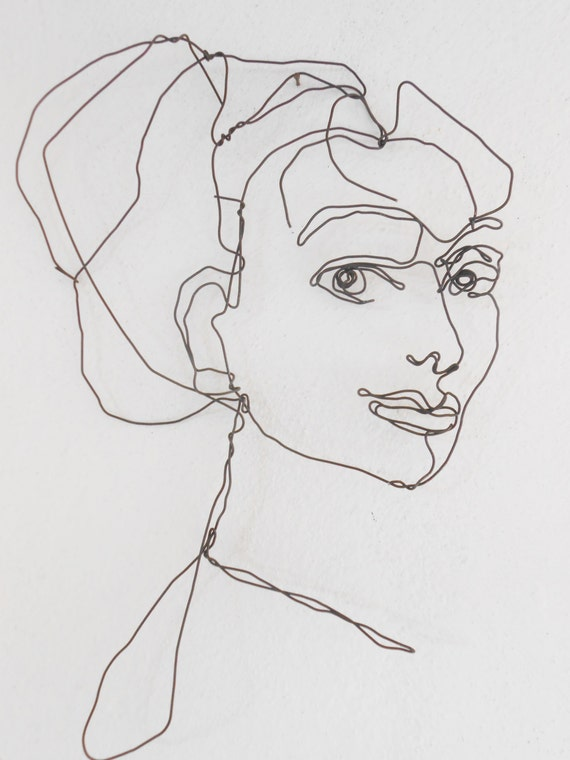 wire wall art unusual portrait of woman hanging sculpture