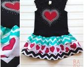 Girls Valentine Dress Baby Valentines Hearts Outfit Valentine Holiday Chevron Baby Toddlers 6 12 18 24 Months Girls 2 3 4 5 6 8