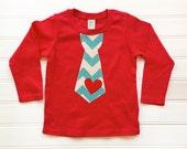 Boys Valentine Shirt Chevron Tie Baby Boy Valentine Boys Tops  Baby Toddlers Sizes 0-3 3-6 6-9 12 18 24 Months Boys 2 3 4 5 6 8 10