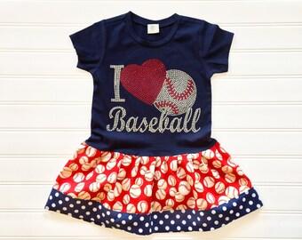 Girls Baseball Dress Girls Rhinestone Baseball Dress
