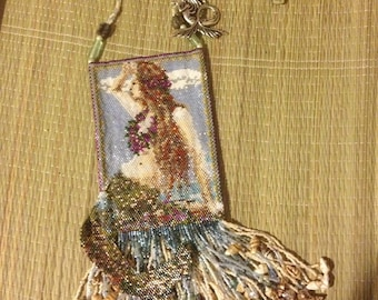 Hand Beaded Fringed Mermaid Pouch