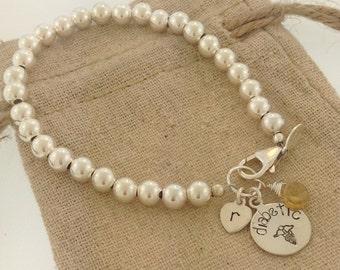 Medical bracelet, diabetic bracelet, cute medical bracelet, custom type 1 diabetic bracelet