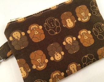 Brown Monkeys Small Zippered Pouch, Wallet, Notions Case, Vegan Wallet, Phone Case, iPod Case