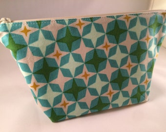Green and Blue Geometric Print Makeup Bag, Cosmetic Bag, Toiletry Bag, Knitting Crochet Project Bag