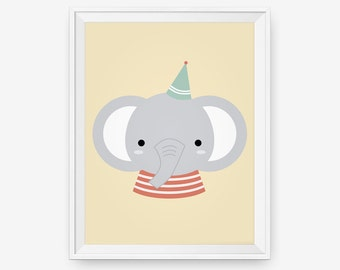 Party elephant animal nursery wall art, baby art print, New Baby, Gift for baby, Children room decor