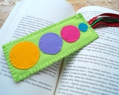 Solar System Felt Bookmark - Lime Green Blue Pink Purple Violet Yellow Felt Bookmark OOAK Eco-friendly Handmade Bookmark