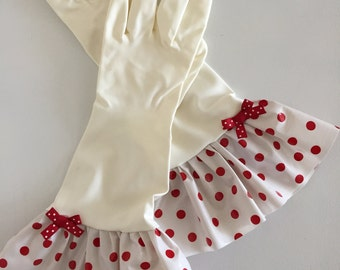 Plain Jane Red Polka Dot Oilcloth Gloves - Latex Free - Not Just for Cleaning (Size Med)