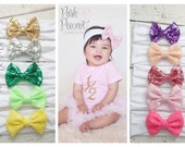 Messy Bow Headband, Sequin Bow headband, Floppy Bow headband, glitter bow headbands, Top knot bow headband, Baby headbands, baby head wraps