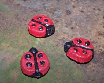 Ladybug Magnets--Cement--Refridgerator Magnet--Hand Painted--Teacher Gift--Signs of Spring--Black and Red--Bug Magnet--Insect