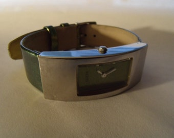 Ladies Watch Rectangular Curved Metallic Green Silvertone