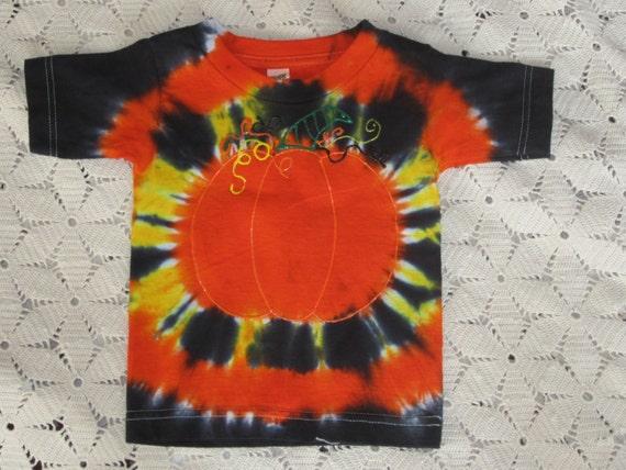 """Tie dye Halloween/Autumn shirt,  """"Pumpkin""""  , 2T size"""