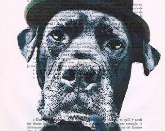 Mixed media Original Illustration Digital Print Art Poster Acrylic Painting Holiday Decor Drawing Gift: Sherlock Holmes Dog x