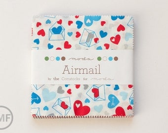 Airmail Charm Pack, Eric and Julie Comstock, Moda Fabrics, Pre-Cut Fabric Squares, 37100PP