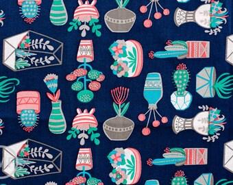 What a Gem Succulents in Navy, Allison Cole, 100% Cotton, Camelot Fabrics, 8140602 1