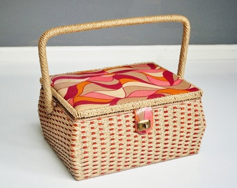 Vintage Wicker Sewing Box with Handle