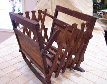 Antique rare baby folding crib wooden 1800's C. A. Fenner Company