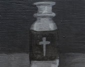 Small Original Painting in Black and White - Size 4x4  - Grayscale Pill Bottle Art - Medical Artwork - Atheist Painting