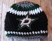 DALLAS STARS Baby Hat Hockey Size 0-3 Months with Logo, Shower Gift, Cap, Beanie, Newborn Baby Boy Girl