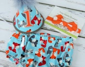 Baby Boys First Birthday Outfit Photo Cake Smash Outfit in Gray Aqua and Orange Woodland Foxes