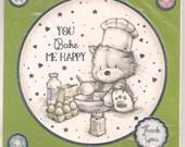Beautiful 6x6 You Bake Me Happy........Thank You Card