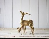 Vintage Brass Deer Set // Solid Brass