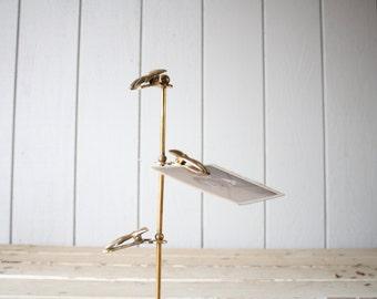 Vintage Brass Hand Clip Stand // Solid Brass