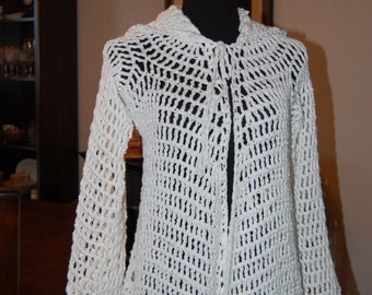 Crochet Cardigan Coat Hoodie white cotton size medium busts 36-38 with pointed hem