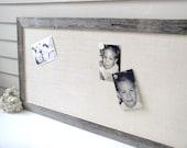Barnwood Frame MAGNETIC Bulletin Board - Reclaimed Recycled Weathered Gray Rustic Ranch Barn Wood 20 x 39 Handmade Frame - Burlap Fabric