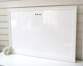 DRY ERASE Whiteboard - Extra Large MAGNETIC Board - Solid Wood Framed Memo Board - Deluxe Modern Handmade White Frame and Button Magnets