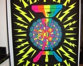 "SALE and FREE Shipping Rare HUGE Original ""Super Peace"" Black Light Vintage Poster"