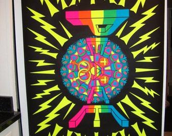 """Rare HUGE Original """"Super Peace"""" Black Light Vintage Poster"""