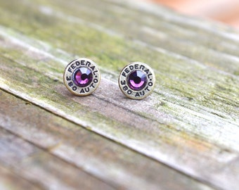 Bullet Earrings 380 Shell Bullet Earrings Stud with Amethyst Swarovski Crystals ULTRA THIN
