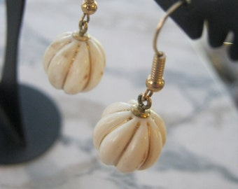 Vintage Polished Bone and Inlaid 14kt Gold Round Bead Dangle Earrings