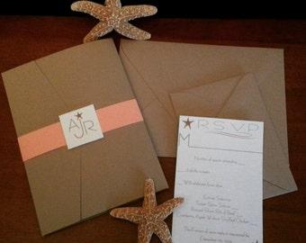 Beige and Coral Starfish Pocket fold Wedding Invitation Set