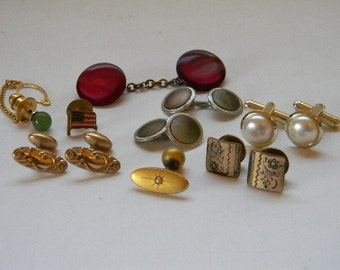 Cufflinks, (11) Antique and Vintage, Gold Filled, Silvertone, Pearl, Abalone, Plated