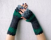 Fingerless mittens cute arm warmers multicolored grey green dragon scale gloves