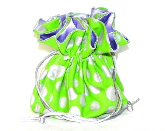 Jewelry Drawstring Travel Bag - Organizer Pouch - Geometric Polka Dots in green, silver and lavender