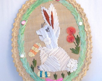 Bunny Rabbit,  Straw Embroidery, White Rabbit with Flowers, Wall Hanging, Childs Bedroom, Bunny, Easter