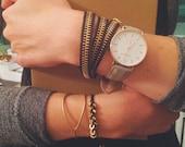 Zipper Bracelet, Black + Gold Wrap