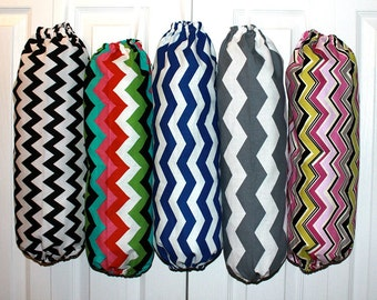 Fabric Plastic Grocery Bag Holder Dispenser--YOU PICK Your Chevron FABRIC Pattern--Wonderful Gift