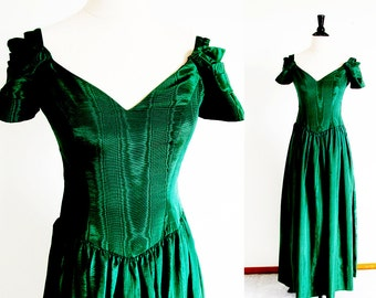 Vintage Green Dress, 80s Forest Green Bianchi Gown, Made in the USA
