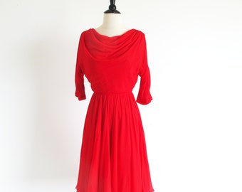 Vintage 50s Red Chiffon Dance Party New Look Full Skirt Dress