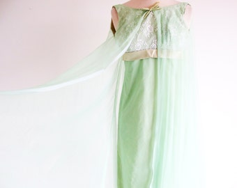 Vintage Green Dress, 60s Mint Green Formal, 1960 Empire Waist Gown, Long Green Dress, Bridesmaid Prom or Reception Dress