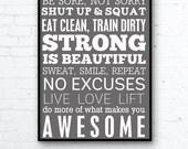Instant Download Inspirational Art Fitness Poster Motivational Gym Decor Instant Printable Art 24x36 Poster Art