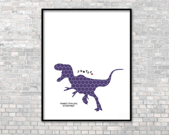 Minimalist Nursery Decor Dinosaur Poster Nursery Decor Rawrrr Means I Love You in Dinosaur Purple Hexagon Print Digital Art Poster