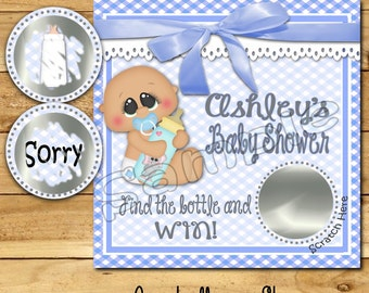 Baby Shower game Baby boy shower ideas Custom game cards Scratch off game shower favors baby lotto Scratch off tags 12 Precut printed