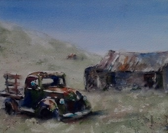 """Old truck, barn, landscape, ghost town. Abandoned, Bodie, California- Original Watercolor Painting 7"""" x 10""""."""