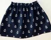 New - Tween, girl, toddler, baby nautical sailor navy blue with white anchors skirt applique sizes NB - 16